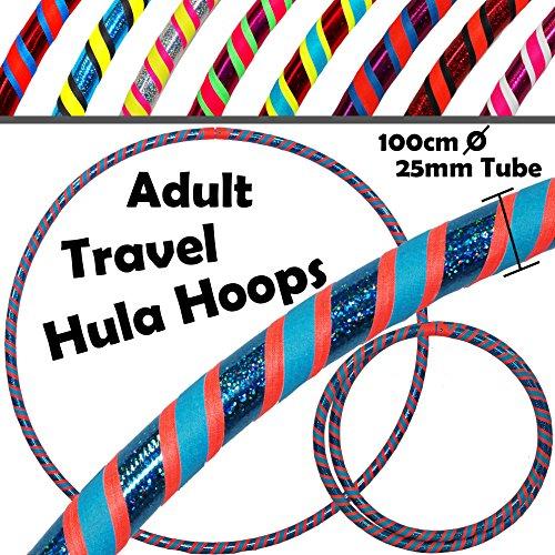 PRO Hula Hoops Reifen für Anfänger und Profis 3-FARBIG (Ultra-Grip/Glitter Deco) Faltbarer TRAVEL Hula Hoop ideal für Hoop Dance, Festivals, Aerobic & Fun! - Größe 100cm / 25mm∅, Gewicht 640g