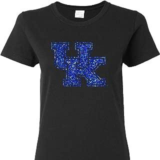 UK Glitter Interlock on a Ladies Cut Black Short Sleeve T Shirt