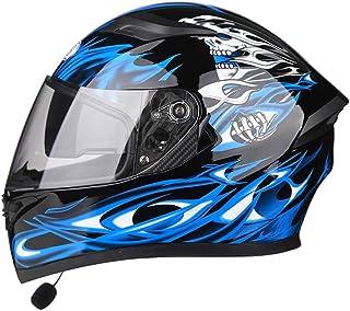 Double Lens Personality Breathable Corner Riding Helmet-Blue Devil Motorcycle Four Seasons Bluetooth Headphones Full Helme...