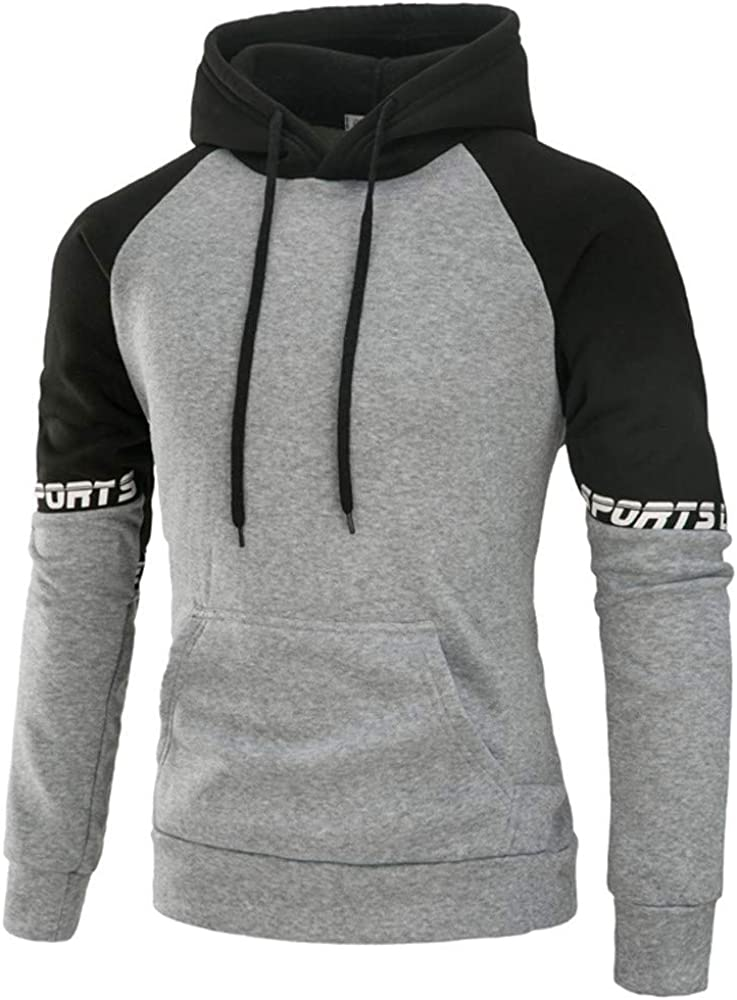 Hoodies for Men Pullover Lightweight, F_Gotal Colorblock Patchwork Long Sleeve Hoodies Casual Hooded Pullover Outwear