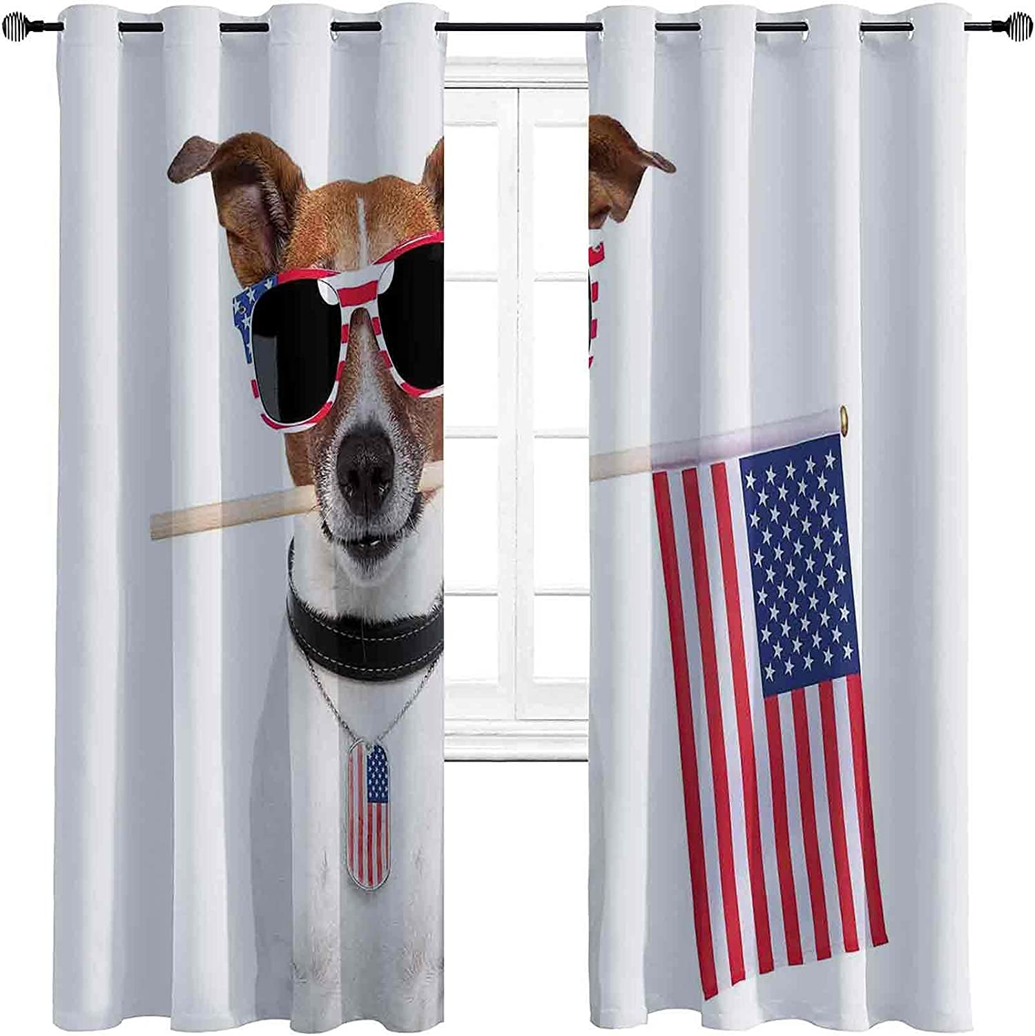 Cheap SALE Start Dog Lover Low price Decor Shading Insulated with USA American Curtain