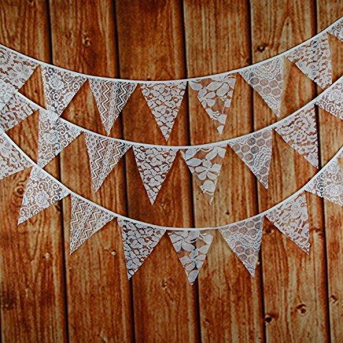 INFEI Banderas de tela de encaje blanco mezcladas de 3 m para bodas, fiestas de cumpleaños, decoración al aire libre y del hogar (blanco)