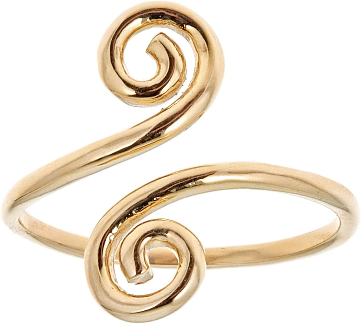 Ritastephens 14k Solid Gold Swirl Adjustable Ring or Toe Ring (Yellow or White)