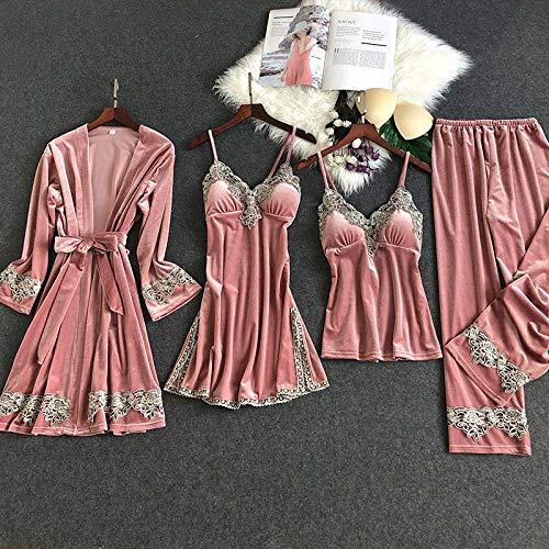 Dames Pyjama,4-Delige Set Pyjama'S Voor Dames, Goud Fluwelen Homewear Loungewear Nachtkleding Dames Pyjama Met Lange Mouwen