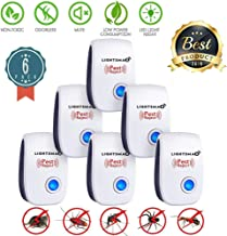 LIGHTSMAX [2019 Upgraded] Ultrasonic Pest Repeller- Electronic Mice Repellent Plug in for Insect Mice, Mouse, Bed Bugs,Flea,Fly,Spiders, Mosquitoes, Roaches, Ants, Eco-Friendly -6 PK