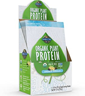 Garden of Life Organic Protein Powder - Vegan Plant-Based Protein Powder, Vanilla, 5 Count Tray