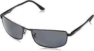 RAY-BAN Men's RB3498 Rectangular Metal Sunglasses, Matte Black/Polarized Grey Gradient, 61 mm