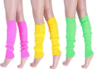 """CHUNG Women Juniors Knitted Leg Warmers 16"""" Neon Party Dance Sports Fitness Accessory Pack of 1/2/3"""