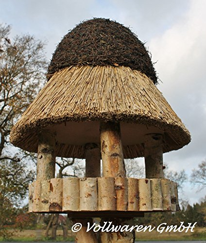 REETDACH VOGELVILLA MASUREN 4 BIRKE 180x57x57 Vogelhaus Futterhaus mit Ständer - 9