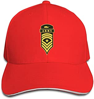 Classic Military Ranks and Insignia Stripes and Chevrons Baseball Cap Adjustable Peaked Sandwich Hats Red