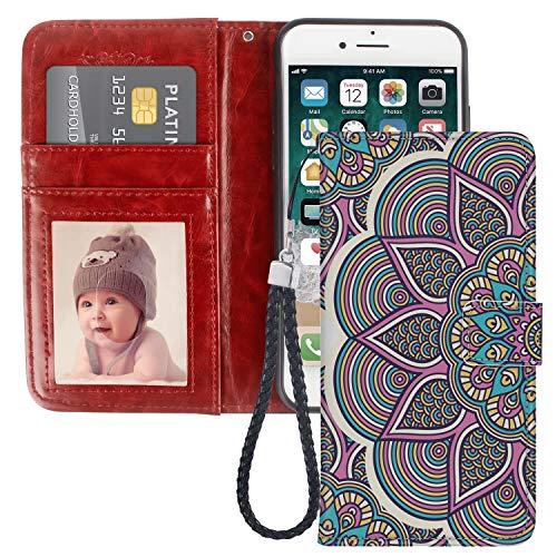 Funda tipo cartera compatible con Apple iPhone 6S o iPhone 6 (4,7 pulgadas), diseño de mandala, color morado