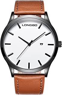Men Classic Watches Leather Strap Simple Dial Date Calendar Analogue Display Wrist Watch (Brown)