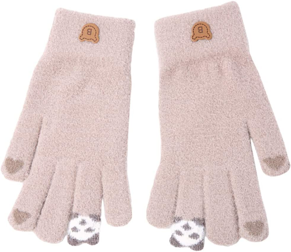 ABOOFAN 1 Pair Touch Screen Texting Gloves Knit Thick Gloves Novelty Mittens Winter Cold Weather Accessories Khaki