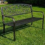 BELLEZE 50' Blossoming Garden Decorative Patio Park Bench, Bronze