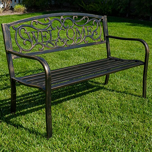 BELLEZE 50' Blossoming Garden Decorative Patio Park Bench, Bronze