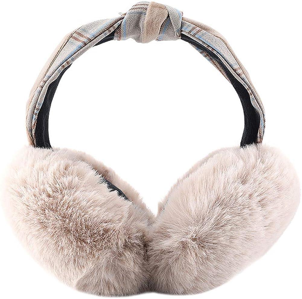 ICEVOG Women El Paso Mall Faux Ranking TOP2 Fur Ear Muffs Cute Knotted War Style Headband