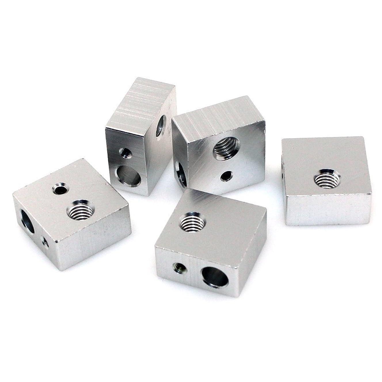 ラメ生産的時間LEOWAY 3Dプリンター用 加熱ヒータブロック5pcs アルミニウム ヒート M6 M3 スレッド ノズル 3Dプリンター MK7/MK8押出機に対応
