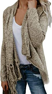 Women Cardigans Wrap Long Sleeve Tassel Asymmetrical Hem Shawl Pullover Coat