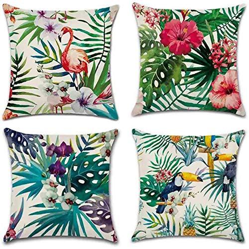 Gudotra 4pcs Funda de Cojín de Algodón de Lino en Estilo Tropical Colorido para Sofá Dormitorio Cama Decorativo(45x45cm)