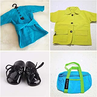 The Crafty Owl Fashion Shoes/Sandals/Boots/Bags Sets in for 18 inch Dolls. Fits American Doll (Blue/Green Coat/Shoes/Bag)