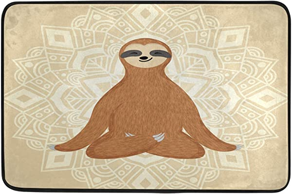 Sloth Decorative Doormat Funny Sloth Yoga Lotus Relaxing Mandala Welcome Indoor Outdoor Entrance Bathroom Floor Mats Non Slip Washable Pets Cat Dog Mat Home Decor 23 6 X 15 7 Inch