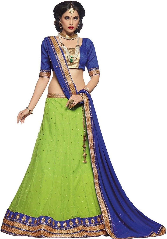 DesiButik's Party Wear Beautiful Parred Green Soft Net Lehenga