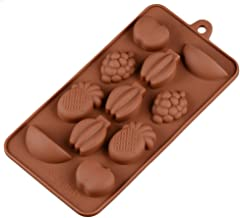 BESTONZON Fruit Silicone DIY Baking Candy Molds Chocolate Mould Ice Cube Trays (Coffee)