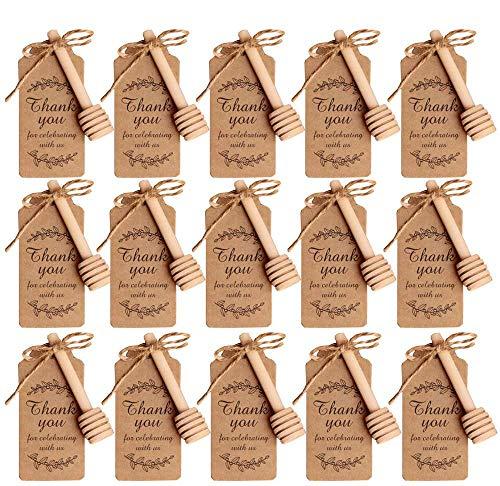 Amajoy 50Pezzi Cucchiaini Bastoncini Miele Legno Piccoli con Grazie Escort Card Mini spargimiele 8 cm cucchiai Legno per Miele per vasetti Miele per bomboniere Ringraziamento Matrimonio Battesimo