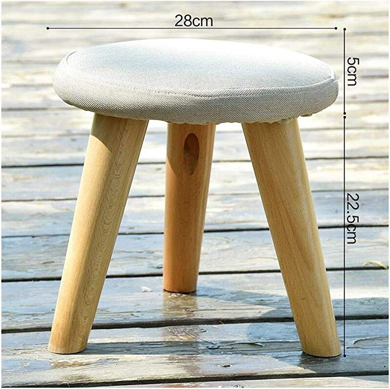 Carl Artbay Wooden Footstool Linen Color Solid Wood Change The Shoe Stool Cloth Round Stool Three Legged Stool Home
