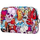 Bolsa de maquillaje personalizada para brochas de maquillaje, bolsa de aseo portátil para mujer, organizador de viaje, diseño de calavera, flores de mariposa