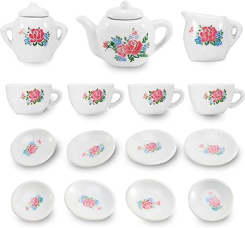 17 Piece Rosa Flower Porcelain Ceramic Tea Set Kitchen Playset by Liberty Imports