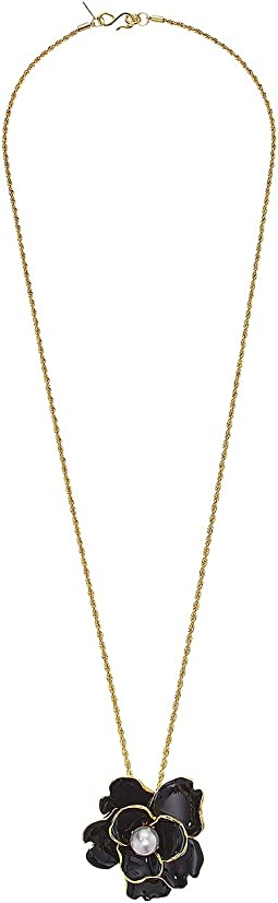"33"" Gold Chain Flower Pendant Necklace with Pearl Center"