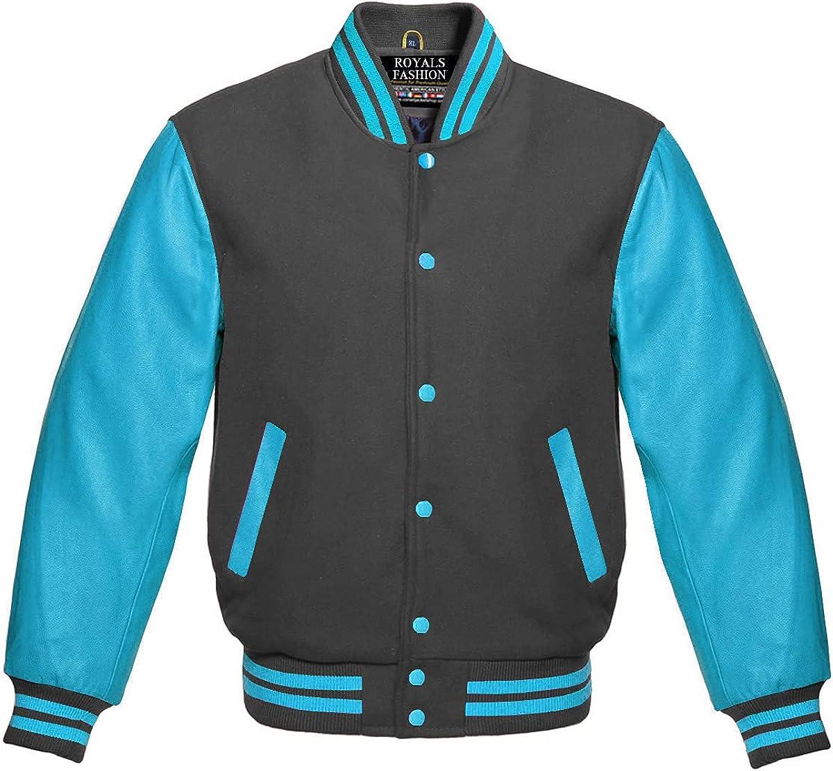 Varsity Letterman Baseball Dark Grey Wool L and Blue Sky Genuine Free Shipping Cheap Bargain Gift Max 52% OFF