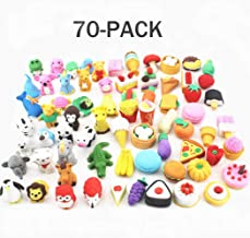ArtioHipo 70PCS Animal Pencil Erasers Japanese Puzzle Food Removable Assembly Erasers for Kids Party Gifts School Games Prizes Classroom Rewards and Novelty Toys Cute Erasers Set(Random Designs)