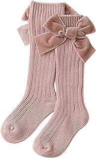 Carolilly, Calcetines altos a la rodilla para niña recién nacida, calcetines de invierno de punto acanalados con gran lazo de terciopelo para niña