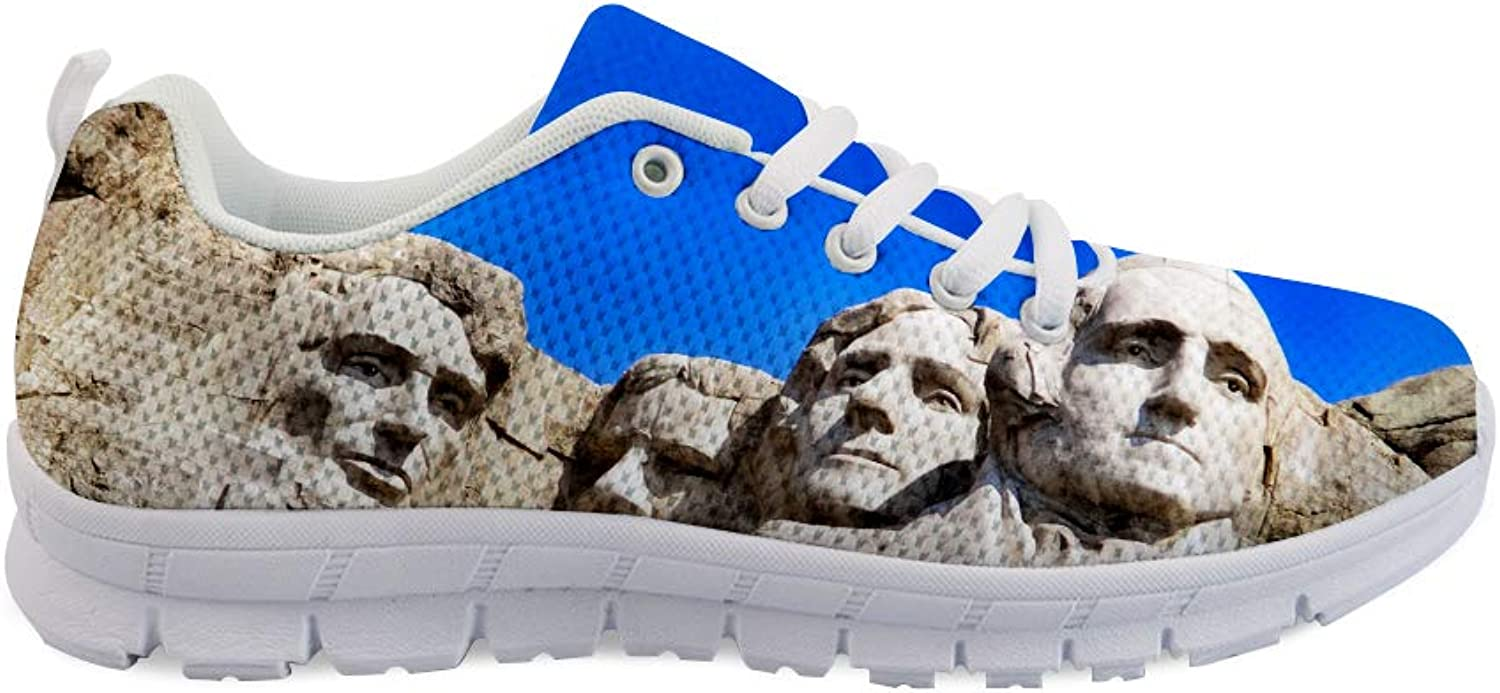 Owaheson Lace-up Sneaker Training shoes Mens Womens Mount Rushmore American Founding Fathers Statues