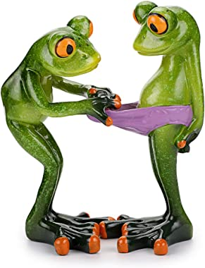 JuxYes Creative Craft Resin Frog Figurine Decor, Novelty Funny Frog Sculpture Statue, Personalized Animal Collectible Figurin