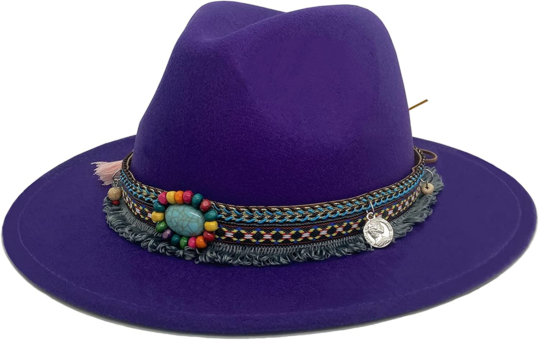 Men Women Vintage Felt Fedora Hat Wide Brim Panama Hats with Buckle