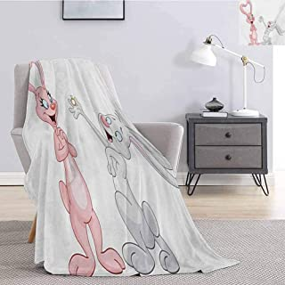 Luoiaax Engagement Party Faux Fleece Throw Blanket Cartoon Bunnies Proposing Rabbits with Wedding Ring Artwork Print Super Soft Fuzzy Elegant Blanket W40 x L60 Inch Pale Pink and Grey