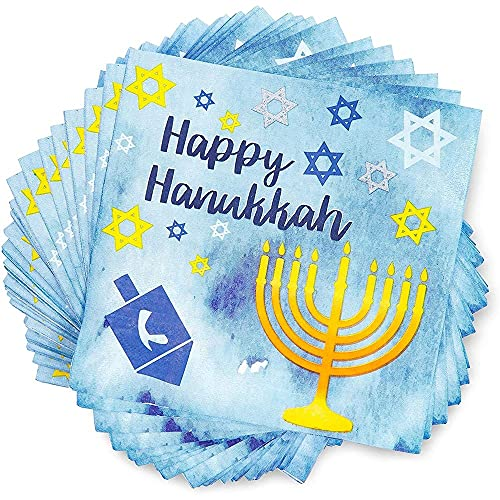 Happy Hanukkah Paper Napkins, Menorahs, Dreidels, Star of David (6.5 In, 100 Pack)