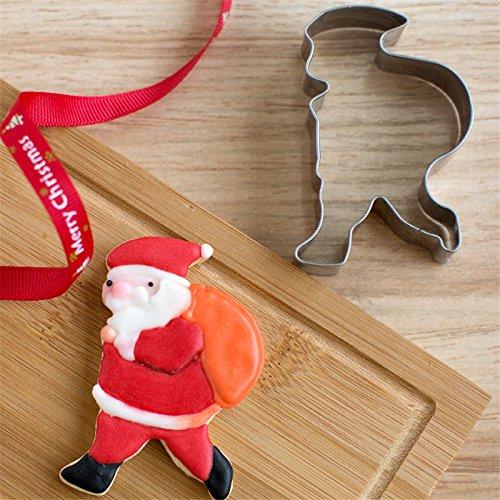 Acmebuy superiore in acciaio INOX) TM Christmas-Formina per biscotti a forma di fiocco di neve, per albero di Natale a forma di Babbo Natale in metallo, con decorazione a stampo per biscotti a forma di Cupcake