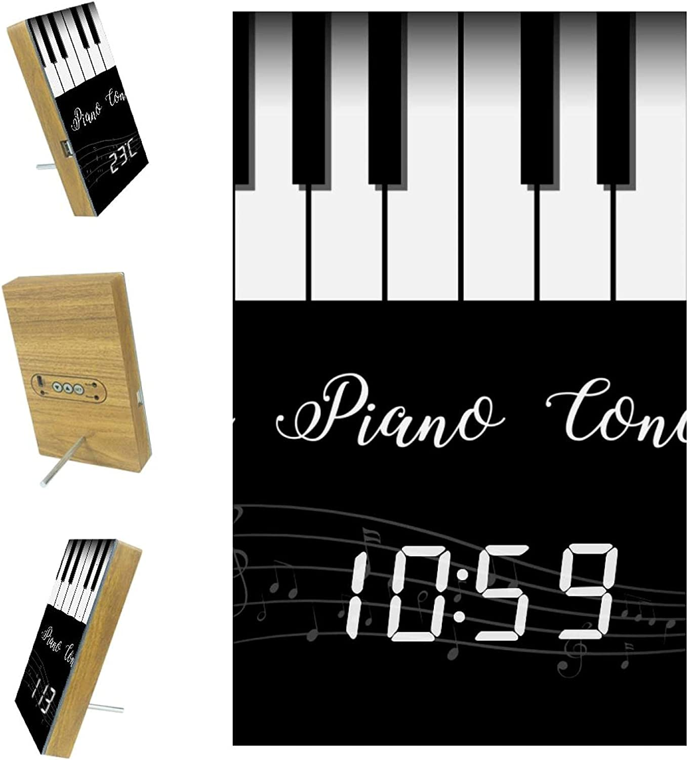 High quality Zuyoon Large shop LED Digital Alarm Clock Advanced C Voice Piano Note