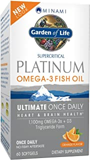 Garden of Life Omega 3 Fish Oil with Vitamin D Once Daily - Minami Platinum Natural Brain Function, Heart and Mood Supplement, 60 Softgels