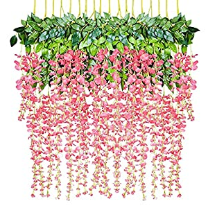 DearHouse 6 Pieces 3.6 Feet Artificial Wisteria Garland, Artificial Flowers Garland Silk Wisteria Vine Hanging Flower for Wedding Home Party Garden Outdoor (Pink)