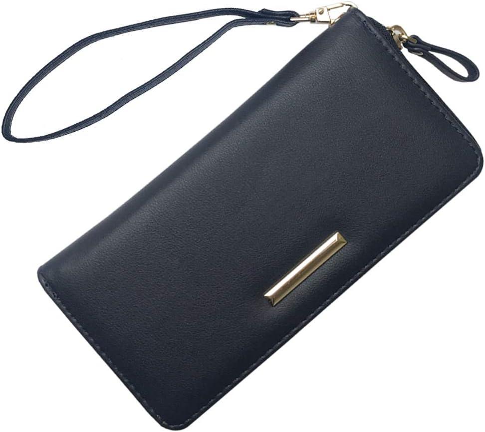 Leather Wristlet Clutch Wallet Card Holder Wallet Dark Blue Travel Handle Long Wallet Purse For Women Men