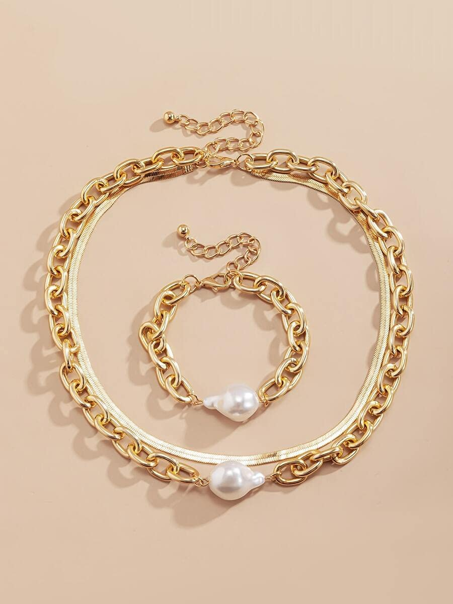 ZHAWE Women's Jewelry In stock Set Series Decor Faux Be super welcome Pearl Necklace Chain