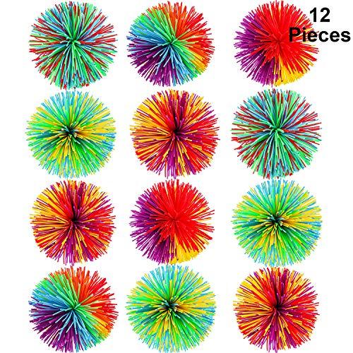 12 Stücke AFFE Stringy Balls Sensorisch Fidget Stringy Balls Weiche Regenbogen Pom Bouncy Stress Balls mit Aufbewahrungstasche, Mehrfarbig (2,75 Zoll 12 Stücke)