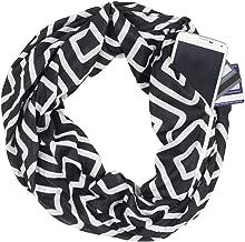 Pop Fashion Womens Geometric Pattern Infinity Scarf Wrap Scarf with White Zipper Pocket, Infinity Scarves
