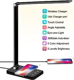 Schreibtischlampe LED mit Wireless Charging, USB Ladeanschluss, BIENSER Smartphones..