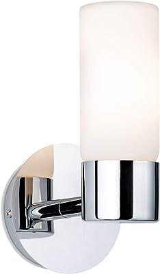 Paulmann 70839 Eleon Applique murale 33 W IP44 Chrome satiné Lampe de salon en métal et verre G9